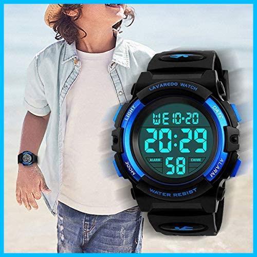 [特価] 子供腕時計 男の子 デジタル腕時計 ボーイズスポーツウォッチ アウトドア多機能50m防水 アラート 日付曜日表示 デュアルタイム LED_画像2