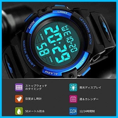 [特価] 子供腕時計 男の子 デジタル腕時計 ボーイズスポーツウォッチ アウトドア多機能50m防水 アラート 日付曜日表示 デュアルタイム LED_画像3