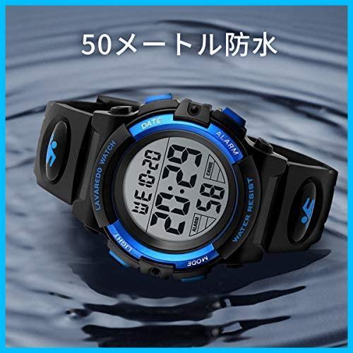 [特価] 子供腕時計 男の子 デジタル腕時計 ボーイズスポーツウォッチ アウトドア多機能50m防水 アラート 日付曜日表示 デュアルタイム LED_画像5
