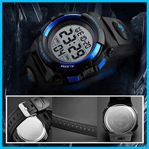 [特価] 子供腕時計 男の子 デジタル腕時計 ボーイズスポーツウォッチ アウトドア多機能50m防水 アラート 日付曜日表示 デュアルタイム LED_画像4
