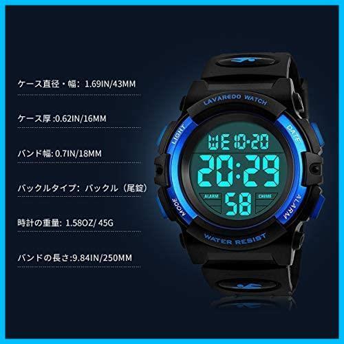 [特価] 子供腕時計 男の子 デジタル腕時計 ボーイズスポーツウォッチ アウトドア多機能50m防水 アラート 日付曜日表示 デュアルタイム LED_画像7