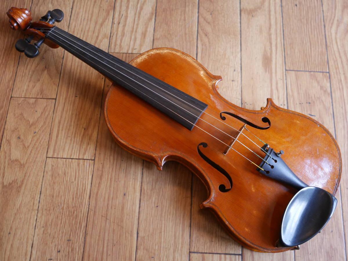 ◆美山勇二 製作 バイオリン 4/4 1989年 魂柱倒れ現状・ジャンク品 ケース付属 全長約60cm