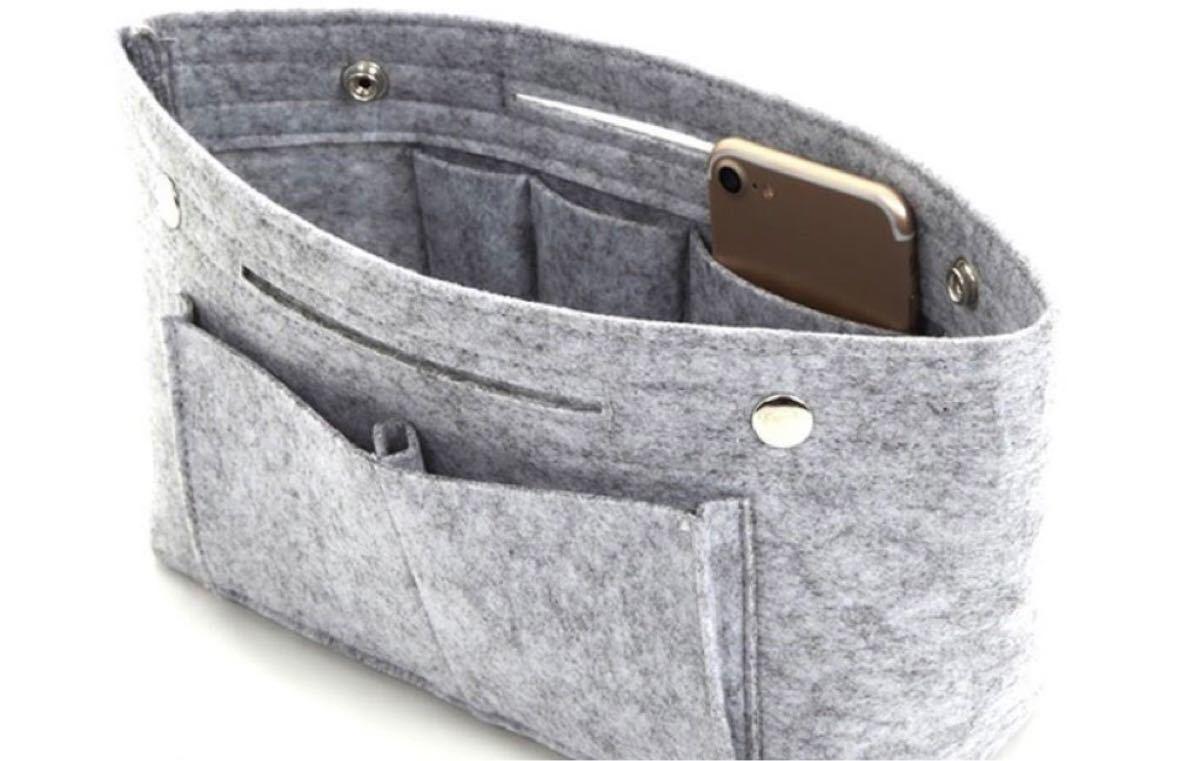 バッグインバッグ グレー 大容量 フェルト インナーバッグ ポーチ 収納ボックス 軽量バッグ 化粧ポーチ メンズ 男女兼用