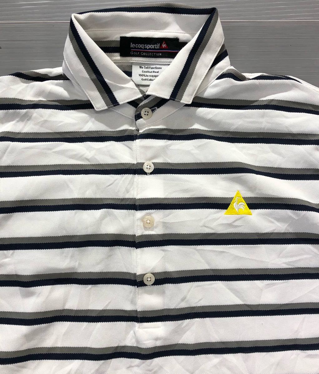 《le coq sportif GOLF ルコックゴルフ》ホワイトライン ロゴ刺繍 ボーダー柄 半袖 ポロシャツ ホワイト×グレー×ブラック L_画像4
