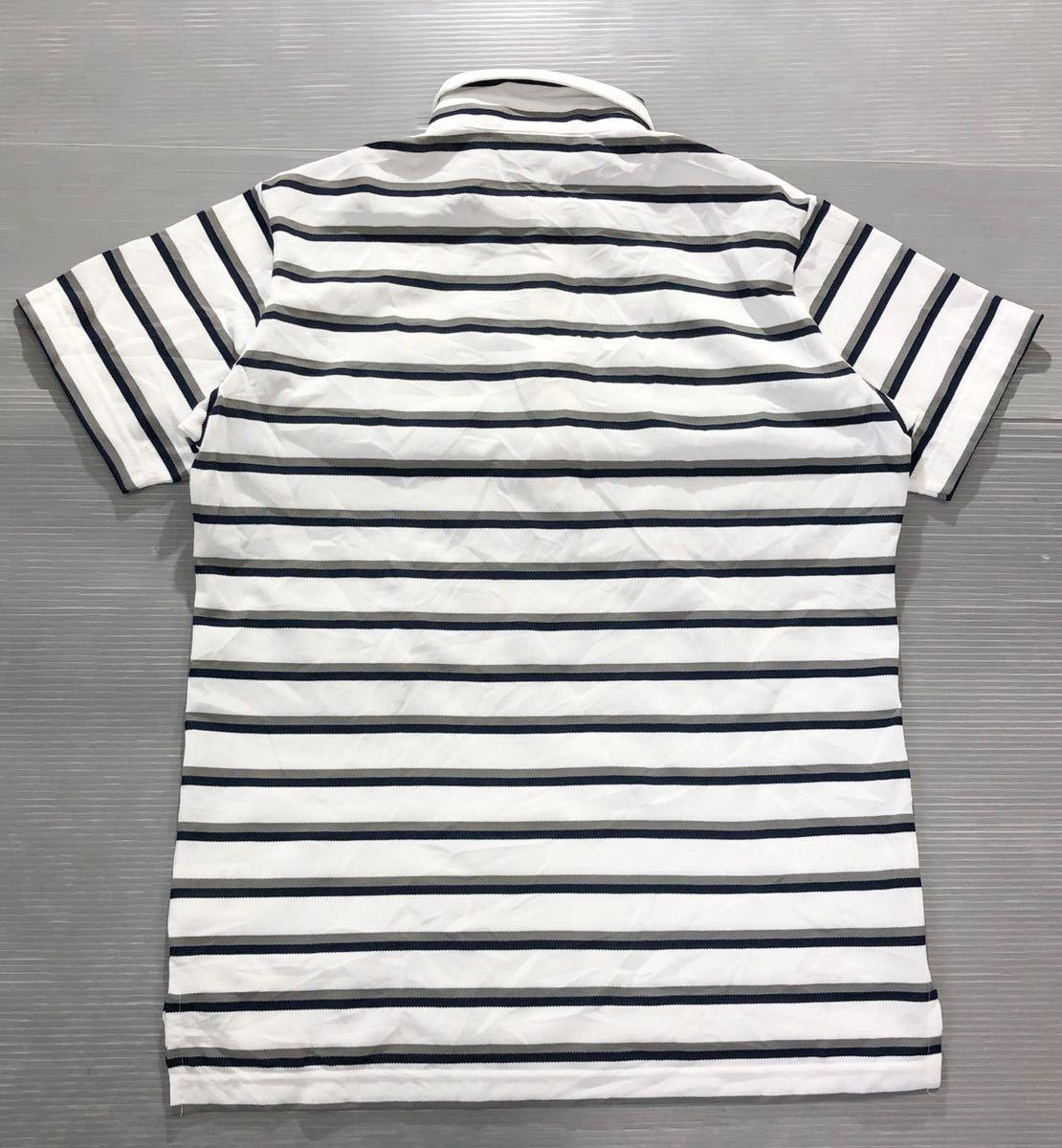 《le coq sportif GOLF ルコックゴルフ》ホワイトライン ロゴ刺繍 ボーダー柄 半袖 ポロシャツ ホワイト×グレー×ブラック L_画像2