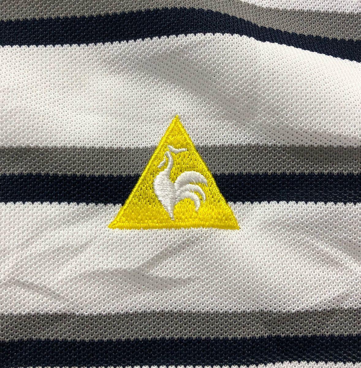 《le coq sportif GOLF ルコックゴルフ》ホワイトライン ロゴ刺繍 ボーダー柄 半袖 ポロシャツ ホワイト×グレー×ブラック L_画像5
