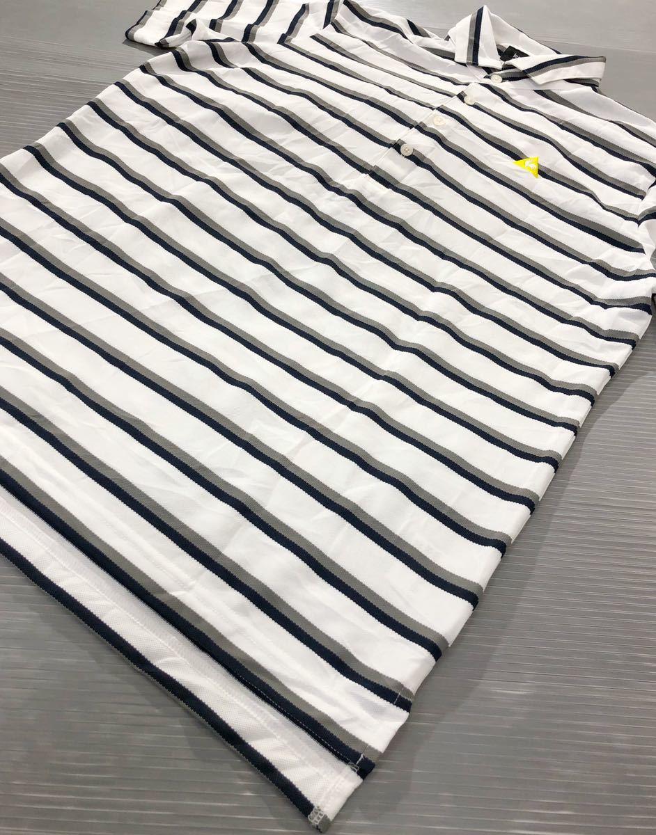 《le coq sportif GOLF ルコックゴルフ》ホワイトライン ロゴ刺繍 ボーダー柄 半袖 ポロシャツ ホワイト×グレー×ブラック L_画像3