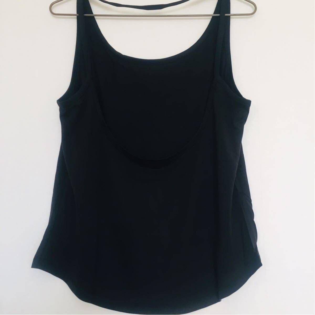 ゆるフィット体型カバー 印象的な背中タンクトップMサイズ黒 ヨガタンク ヨガウェア トップス バレエ トレーニング ズンバ ダンス ジム