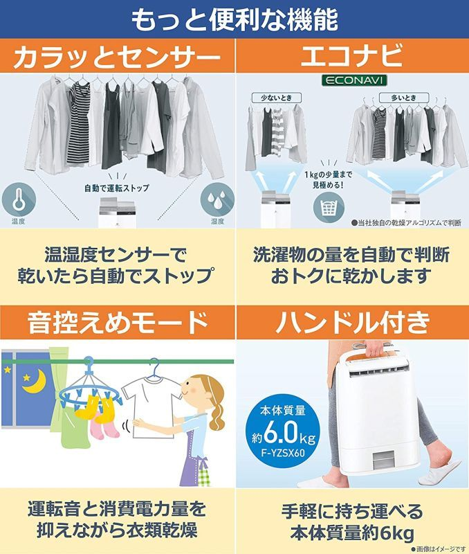 ★未使用★Panasonic(パナソニック) 衣類乾燥除湿機 デシカント方式 ~14畳 ブルー F-YZT60-A_画像3