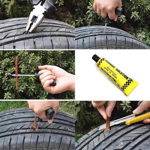 タイヤ パンク修理キット チューブレス用 リペアキット バイク 自動車 車 応急処置 非常用 携帯 3回分 送料無料_画像2