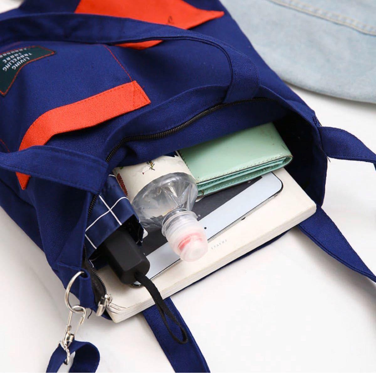 トートバッグ ショルダーバッグ ロゴ 大容量 キャンバス エコバッグ ブルー 男女兼用