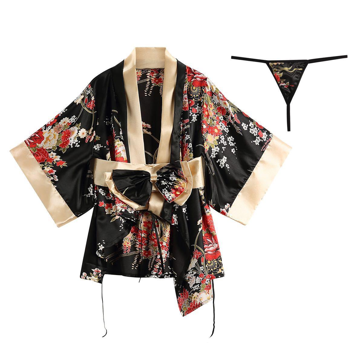 セクシーランジェリー 浴衣 和風 着物ドレス ナイトウエア 花柄 花魁 コスプレ衣装 Tバック 和服コスプレ衣装セット レッド