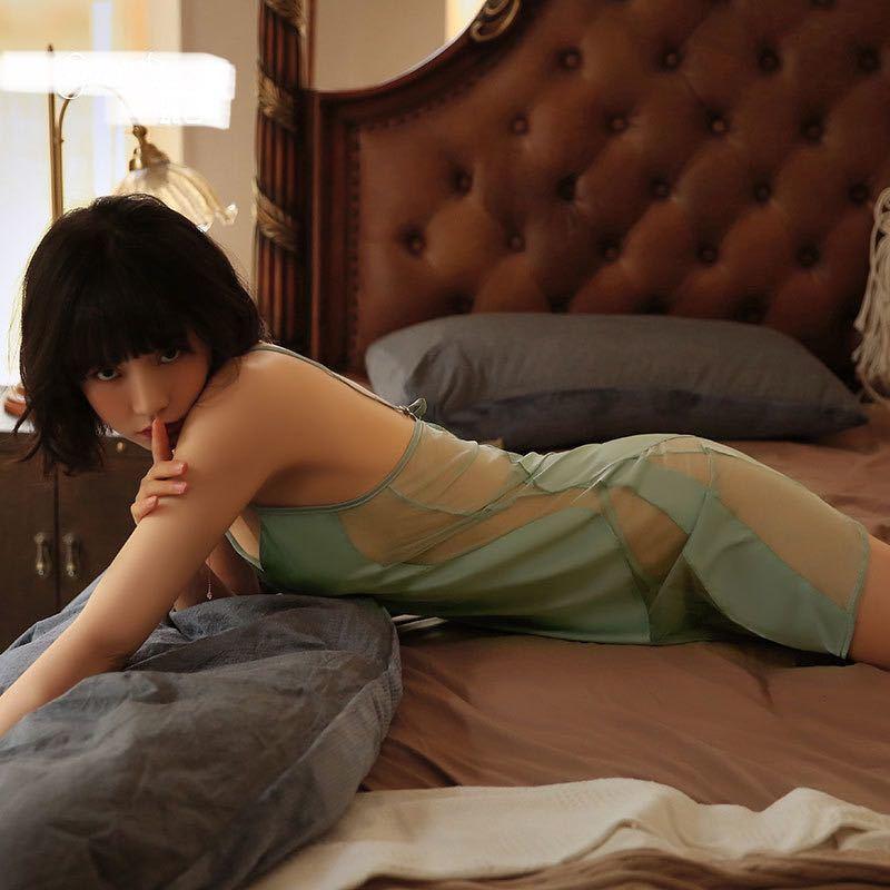 セクシーパジャマ シルク 透け ナイトウェア セクシーランジェリー ベビードール 可愛い 夏色 マリンブルー エメラルドグリーン