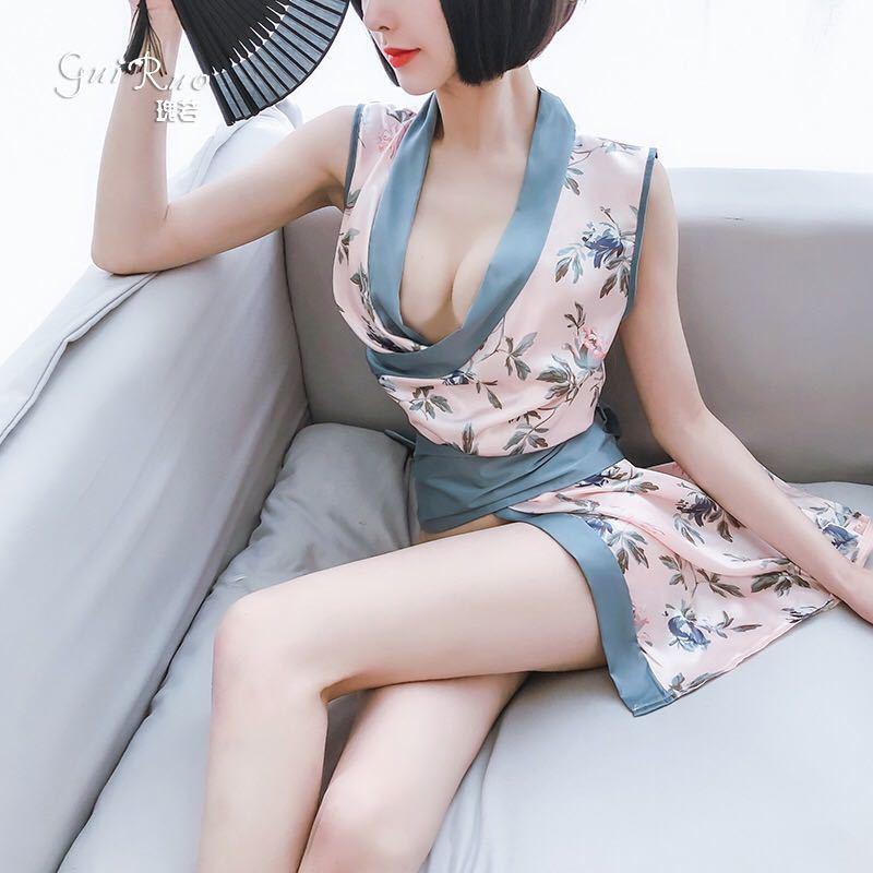 セクシーランジェリー コスプレ 下着 レオタード 和風コスプレ衣装セット お花柄 浴衣 Tバック付 可愛い浴衣セット