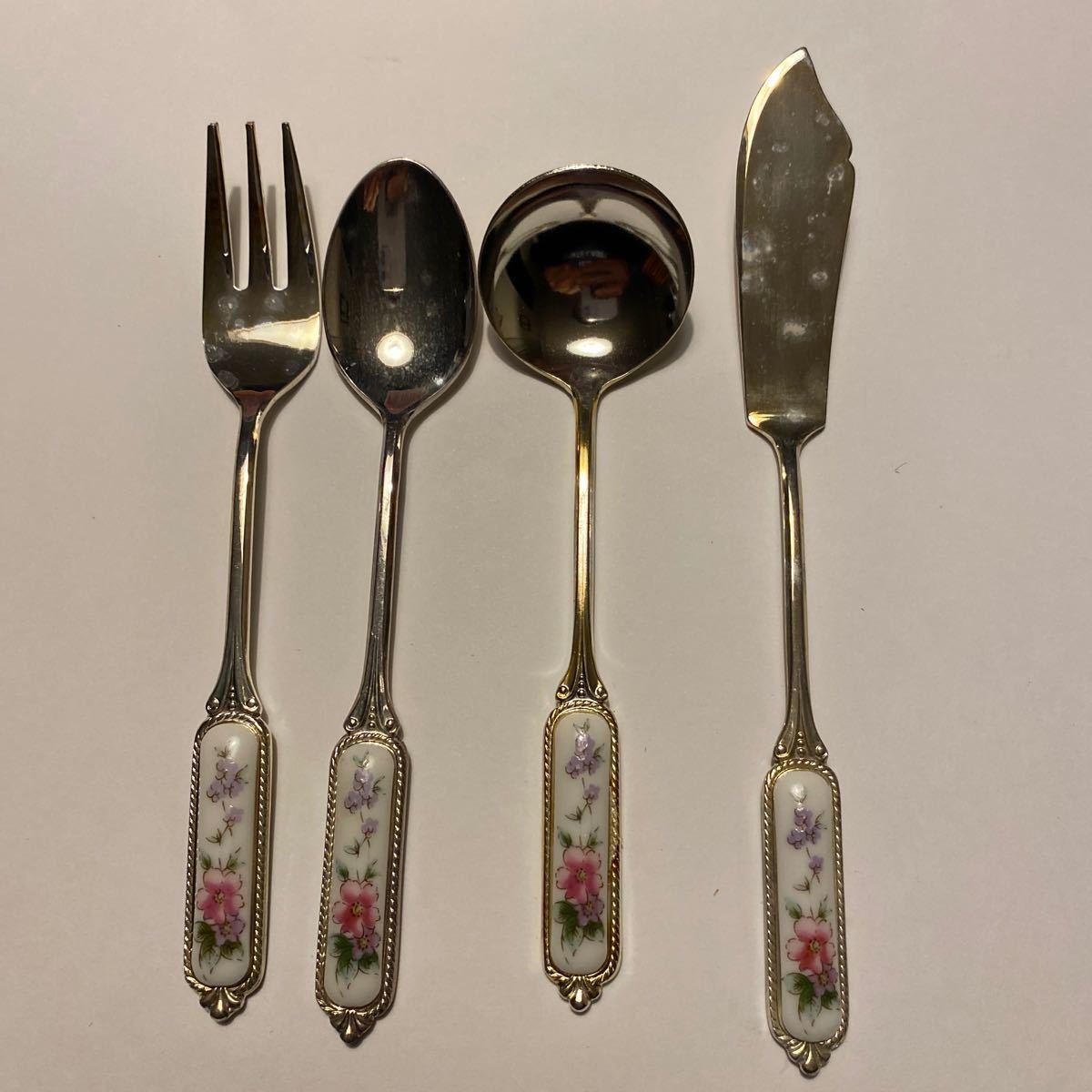 カトラリーセット、 スプーンセット(5)、フォークセット(5)、バターナイフ、シュガースプーン、AZUMA 銀製品、