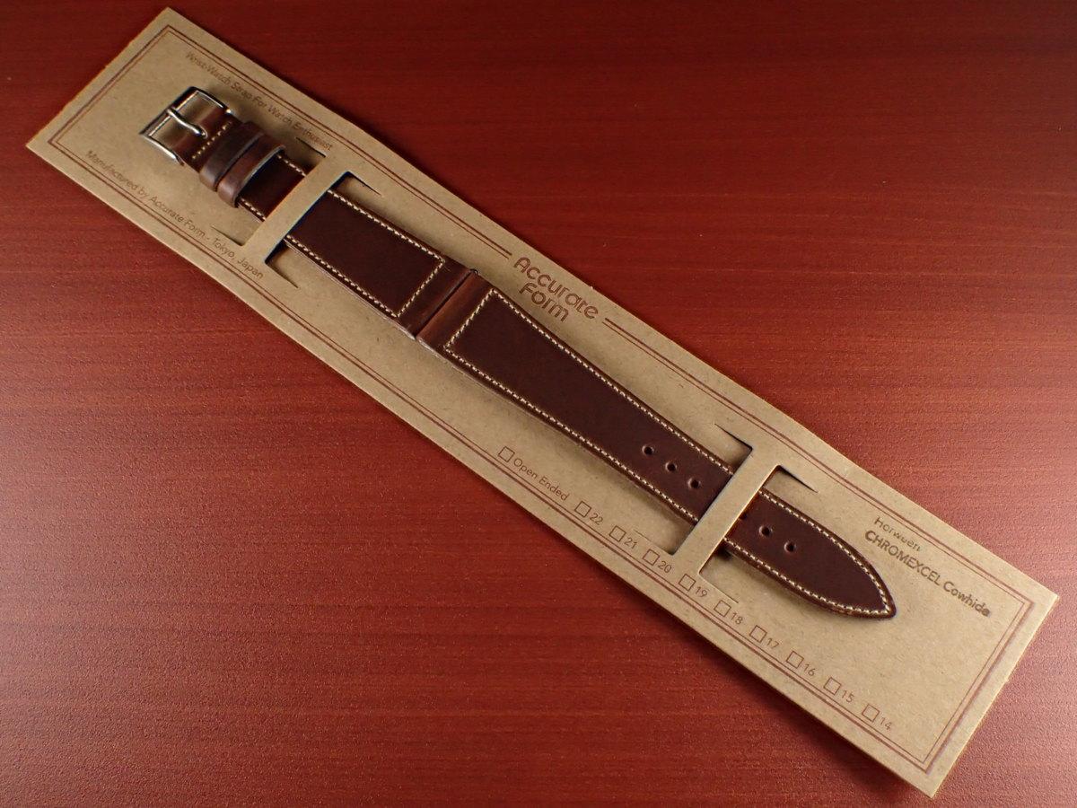 CBHC-08a ★新型★ アキュレイトフォルム ホーウィン クロムエクセル革ベルト レギュラー チョコ 16mm、17mm、18mm、19mm、20mm_画像1