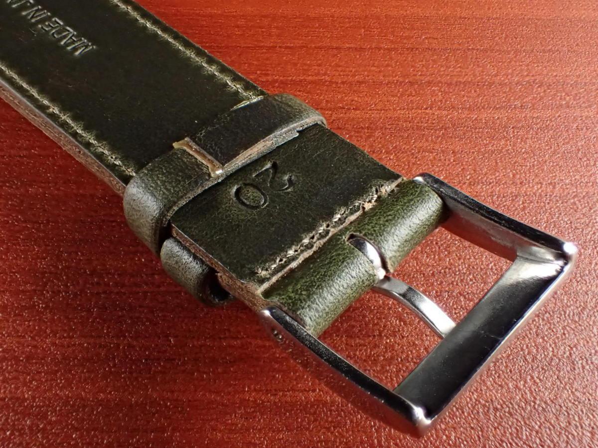 CBHC-07a ★新型★ アキュレイトフォルム ホーウィン クロムエクセル革ベルト レギュラー グリーン 16mm、17mm、18mm、19mm、20mm_画像4