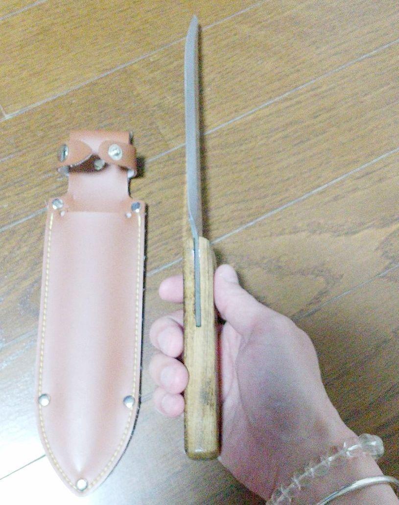 ステンレス製 ナイフ スコップ 庭 両刃型 全長 318m/刃長:170mm バタフライナイフ
