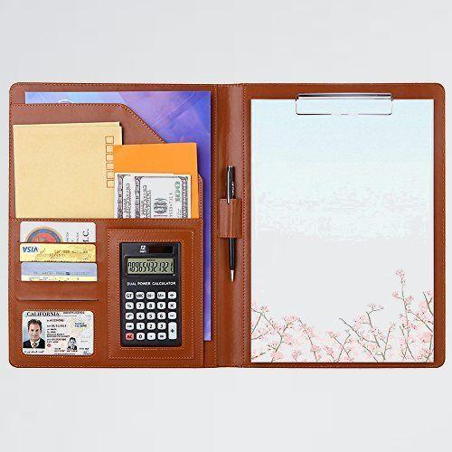新品 好評 多機能フォルダ- A4バインダ- N-MX オフィス用品 (ブラウン) クリップボ-ド A4ファイル 12桁電卓付き A4書類契約フォルダ-_画像1
