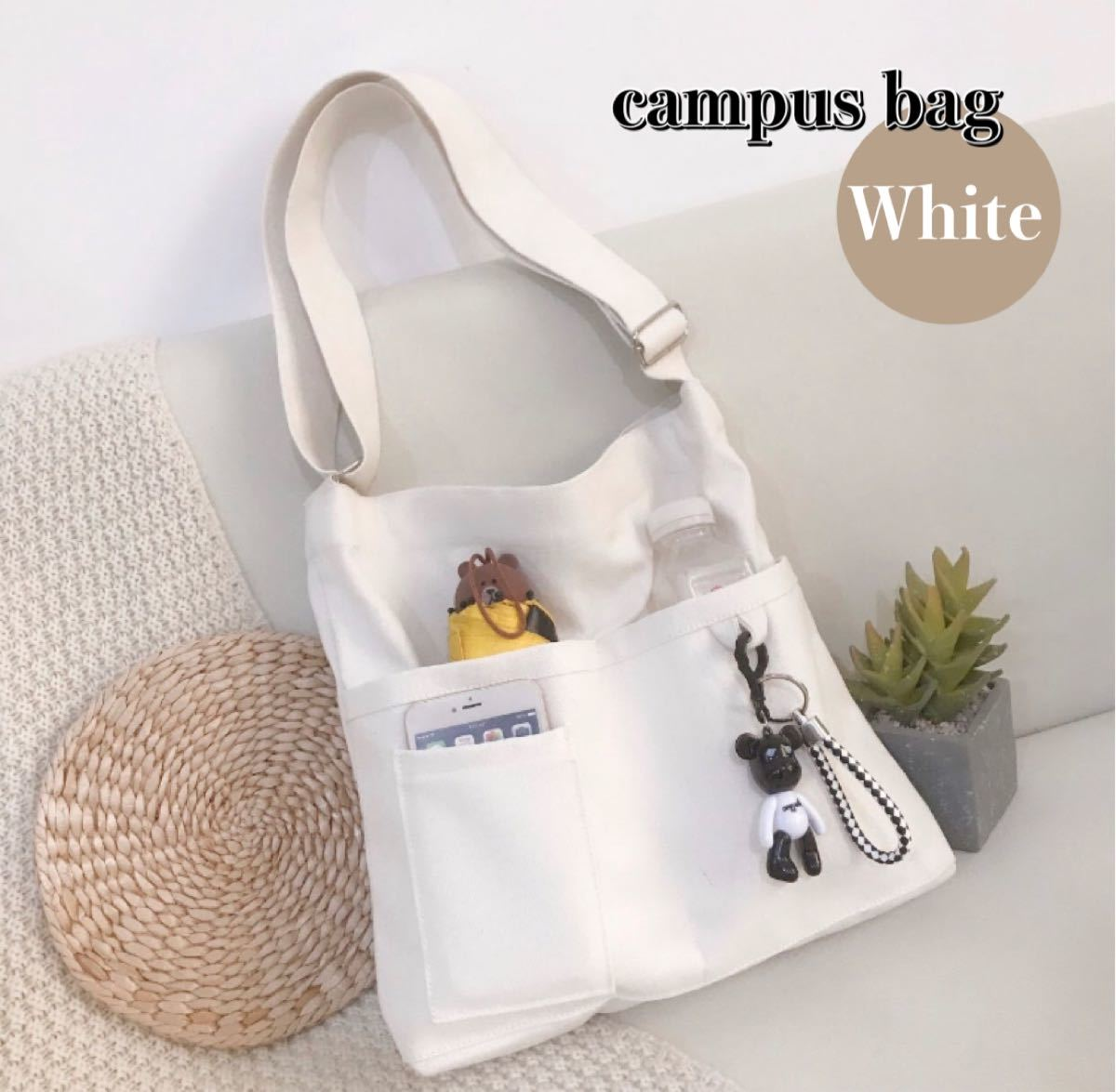 トートバッグ ショルダーバッグ マザーズバッグ エコバッグ ホワイト 大容量 帆布バッグ 男女兼用 韓国ファッション 新品未使用