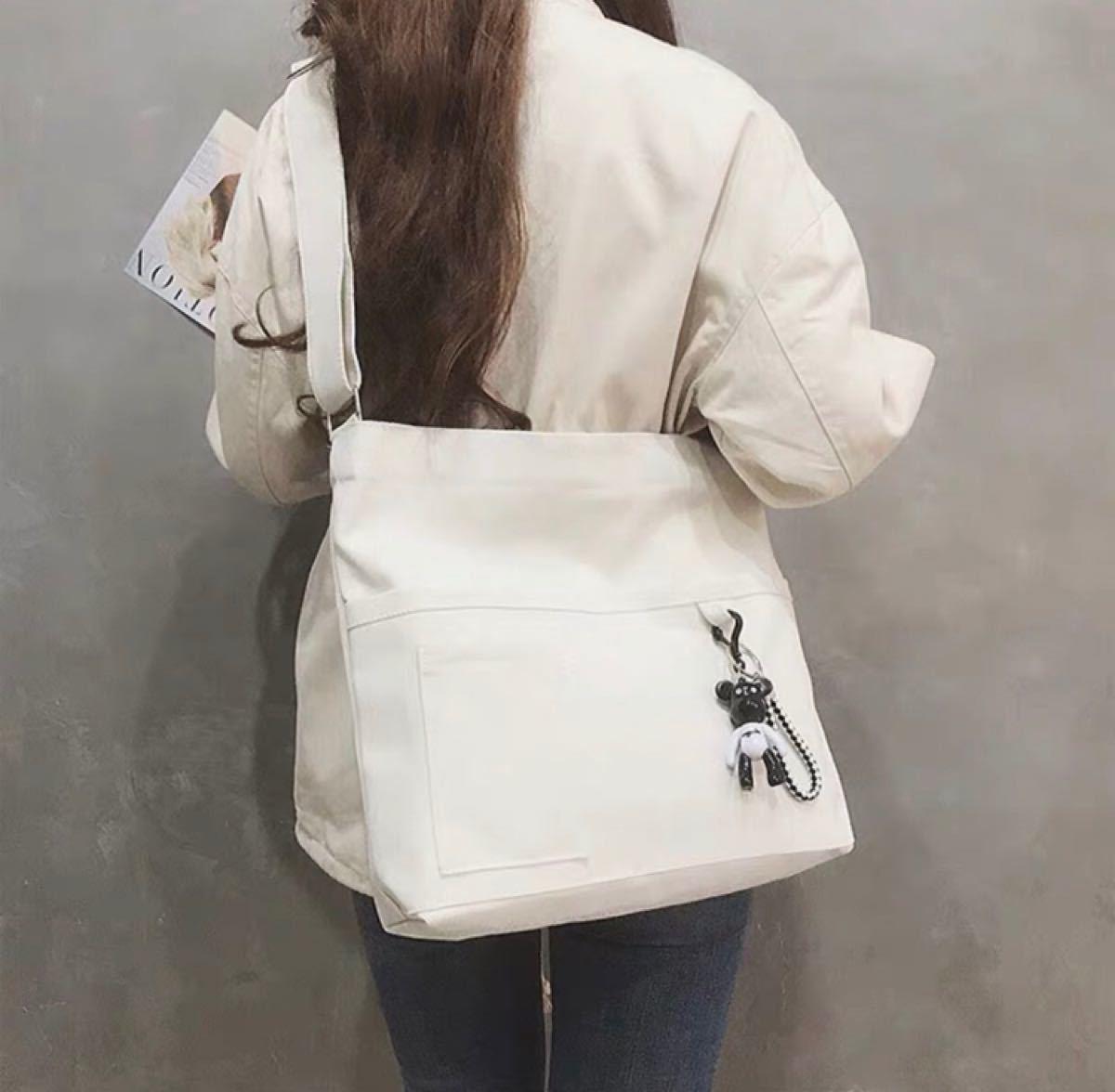トートバッグ ショルダーバッグ エコバッグ キャンパスバッグ 帆布 ホワイト 男女兼用 韓国ファッション 新品未使用