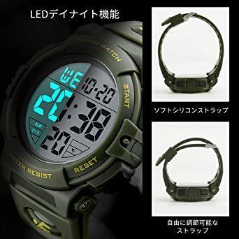 5-グリーン 腕時計 メンズ デジタル スポーツ 50メートル防水 おしゃれ 多機能 LED表示 アウトドア 腕時計(グリーン)_画像4