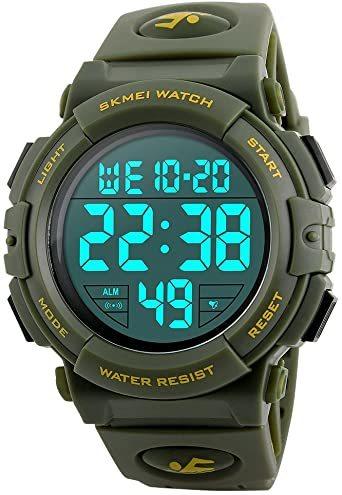 5-グリーン 腕時計 メンズ デジタル スポーツ 50メートル防水 おしゃれ 多機能 LED表示 アウトドア 腕時計(グリーン)_画像1