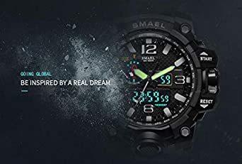 カーキ SMAEL ミリタリー 迷彩風 アナデジ 腕時計 メンズ 男性 アラーム クロノグラフ 多機能 スポーツ ウォッチ スチ_画像3