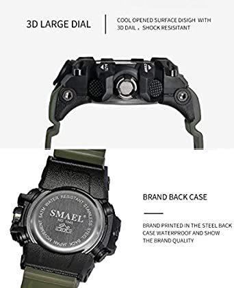 カーキ SMAEL ミリタリー 迷彩風 アナデジ 腕時計 メンズ 男性 アラーム クロノグラフ 多機能 スポーツ ウォッチ スチ_画像4