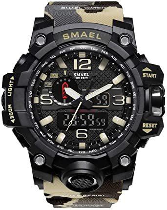 カーキ SMAEL ミリタリー 迷彩風 アナデジ 腕時計 メンズ 男性 アラーム クロノグラフ 多機能 スポーツ ウォッチ スチ_画像1