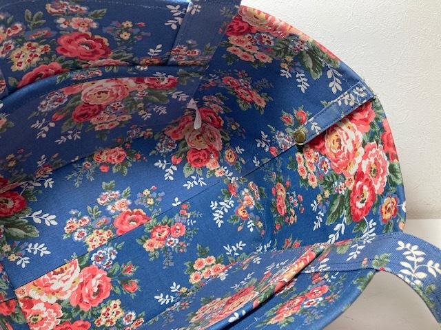 ※11398 CATH KIDSTON 大型 ラージトートバッグ ブルー系 花柄 レディース キャスキッドソン USED_画像5