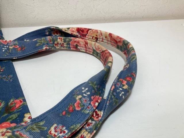 ※11398 CATH KIDSTON 大型 ラージトートバッグ ブルー系 花柄 レディース キャスキッドソン USED_画像4