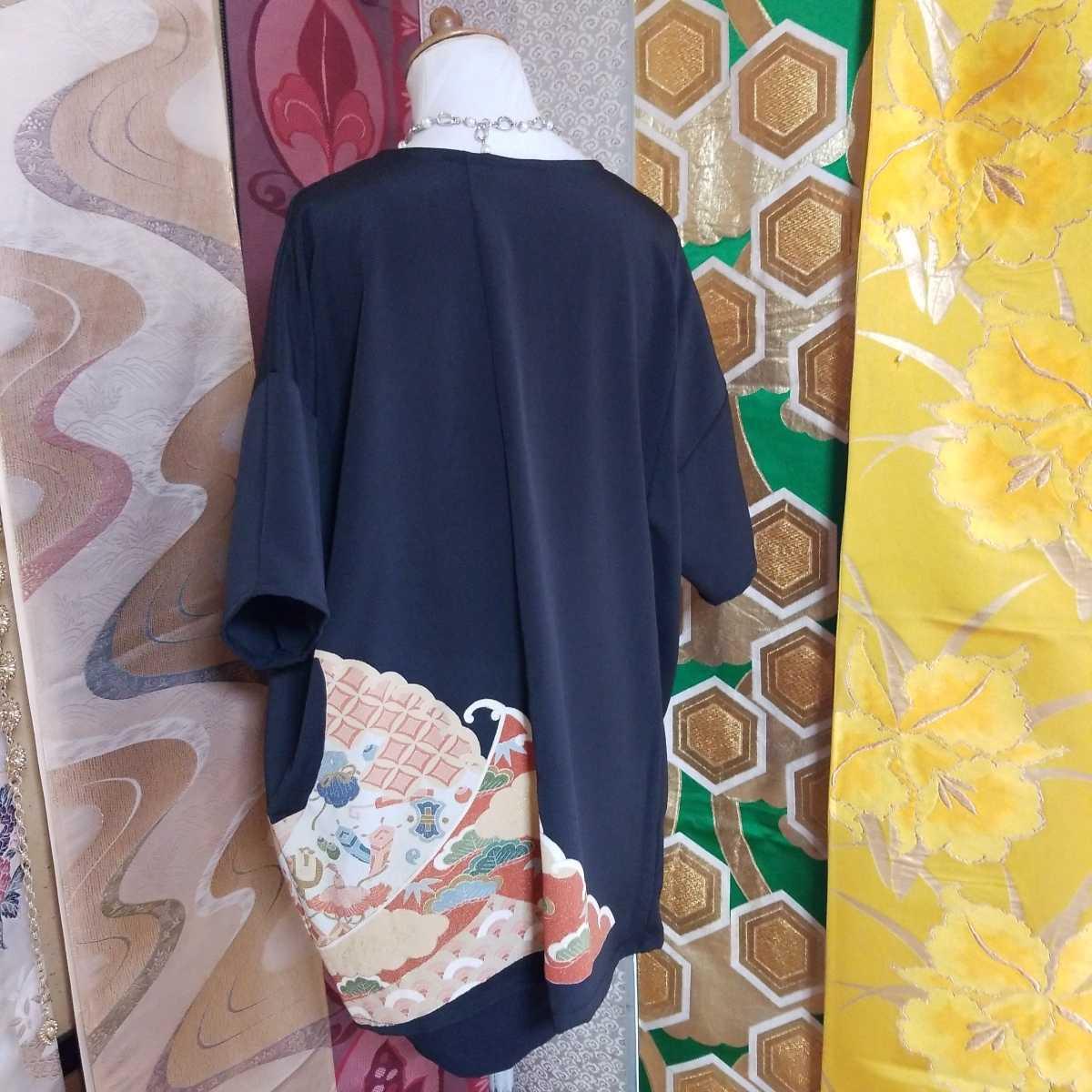 着物リメイク 黒留袖 古典柄チュニックw130ハンドメイド