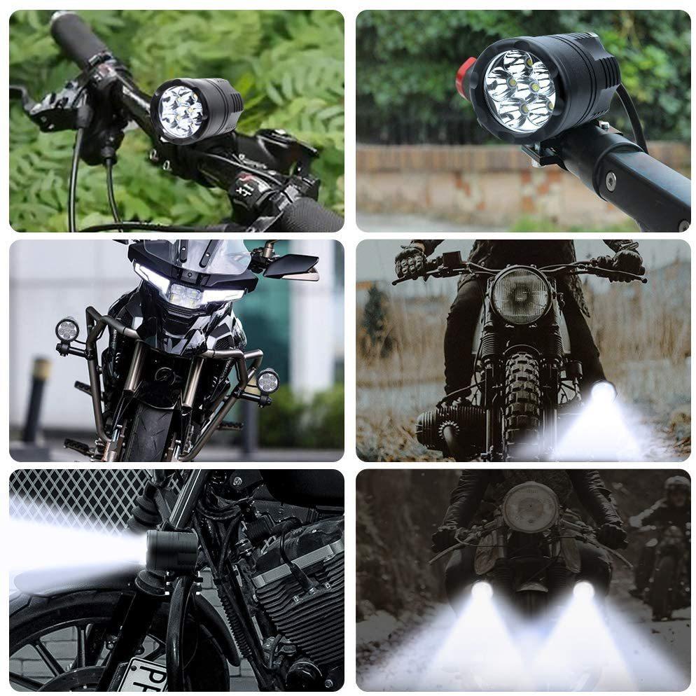 オートバイ/バイク ヘッドライト 補助灯 6連 ledフォグランプ ホワイト 2個入り 12V スポットライト プロジェクター バイク スイッチ*1_画像5