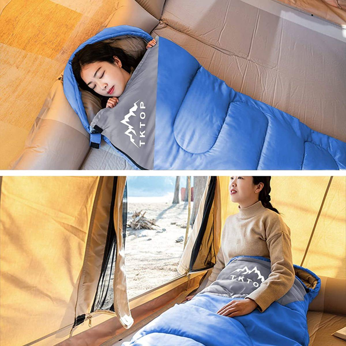 封筒型寝袋 軽量 キャンプ 丸洗い可能 保温210T防水シュラフ 収納パック付き