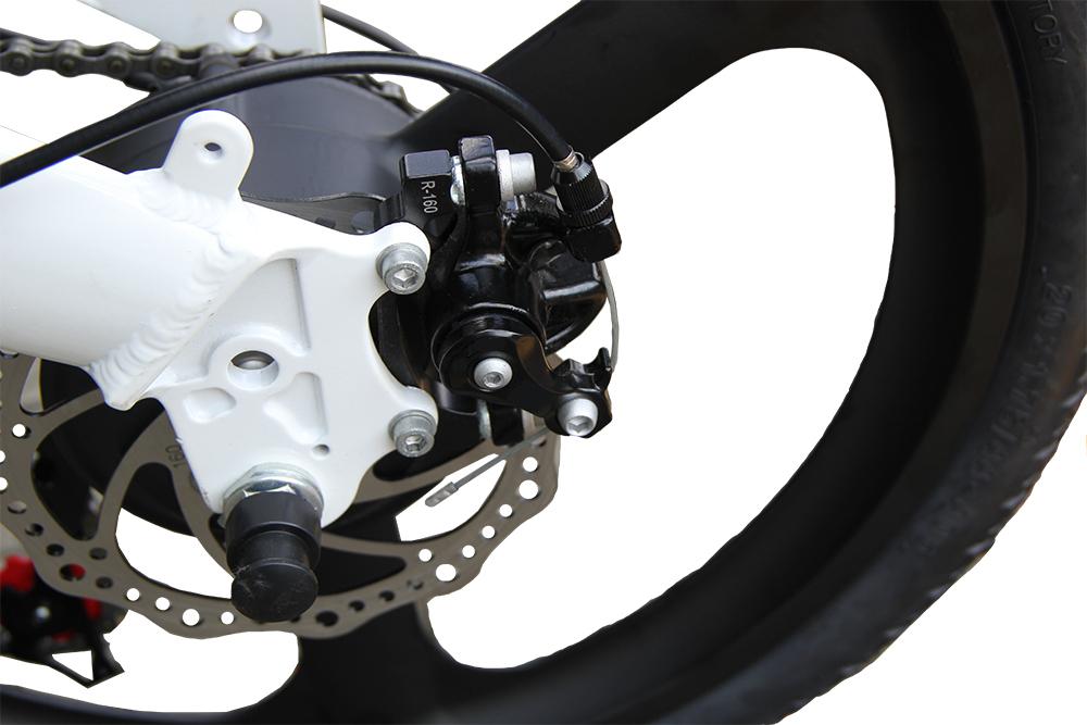 3WAY 20インチ折りたたみ式電動バイク 最大時速25キロ 電力5速調整 外装SHIMANO 7段変速 36V 350W 10AH Dブレーキ LEDライト搭載 USB充電可_画像6