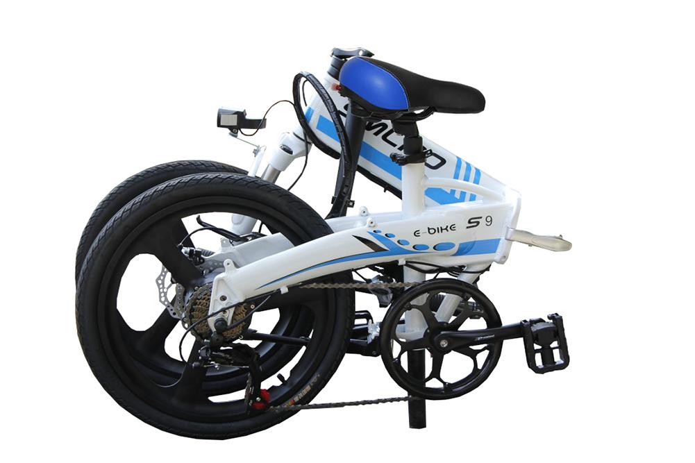 3WAY 20インチ折りたたみ式電動バイク 最大時速25キロ 電力5速調整 外装SHIMANO 7段変速 36V 350W 10AH Dブレーキ LEDライト搭載 USB充電可_画像3