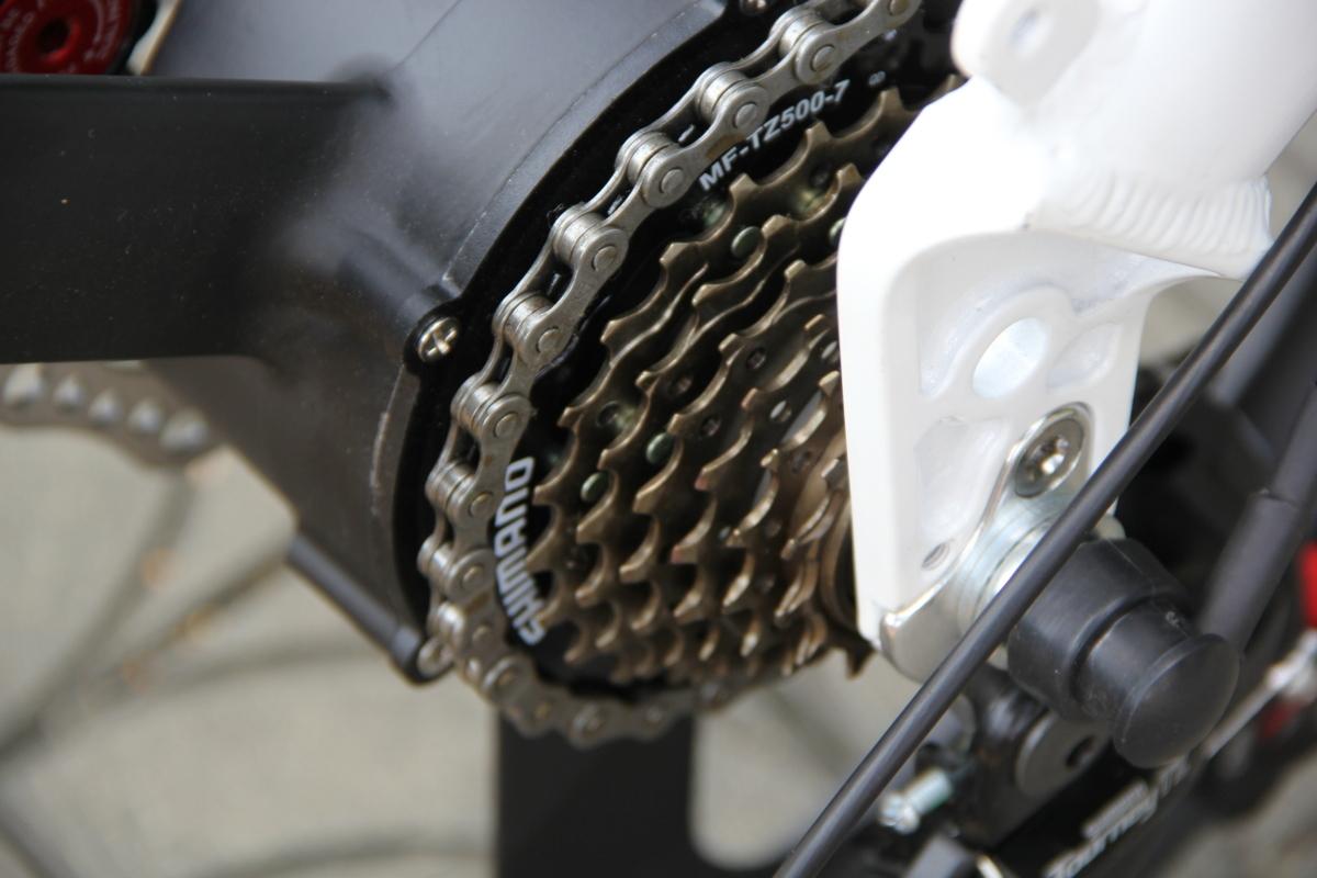 3WAY 20インチ折りたたみ式電動バイク 最大時速25キロ 電力5速調整 外装SHIMANO 7段変速 36V 350W 10AH Dブレーキ LEDライト搭載 USB充電可_画像7