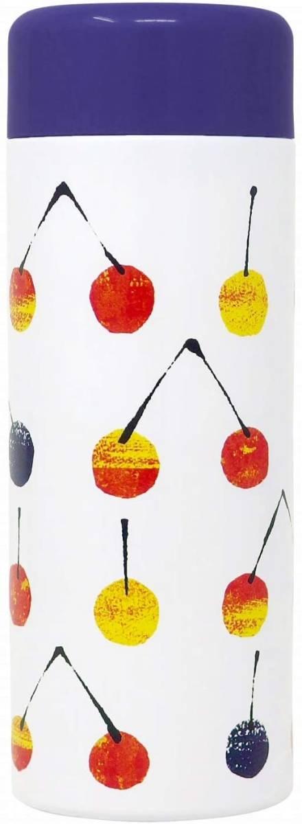 水筒 直飲み 380ml マグボトル ステンレスボトル 保温 保冷 サーモボトル サーモマグ かわいい さくらんぼ フルーツ柄 魔法瓶