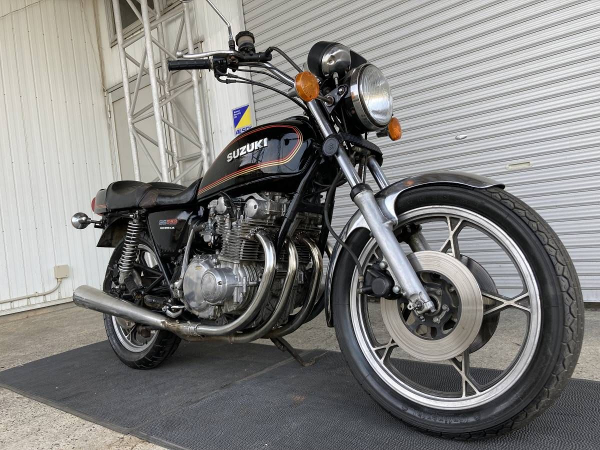GS550E 3-⑭黒 SUZUKI トリプルディスク.キャストホイール/エンジン実働!吹け上がり良好/輸入新規(国内未登録)書類有/豊橋市/E30702-14-0C2