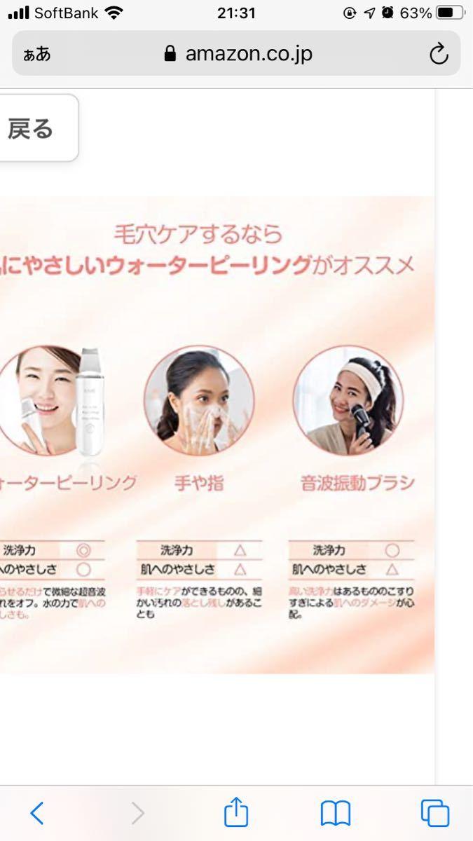 ウォーターピーリング 美顔器 USB充電式 超音波ピーリング 毛穴ケア 多機能美顔器 EMS微電流 黒ずみ/角質/汚れ除去 日本語