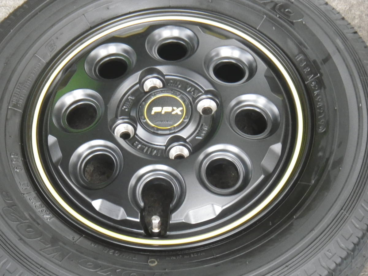 【現品限り】軽トラ 軽バンに!!新品アルミ 3.5J×12 +45 4H/100 & 中古タイヤ TOYO 145R12 LT 6PR 4本セット スズキ ダイハツ_画像2