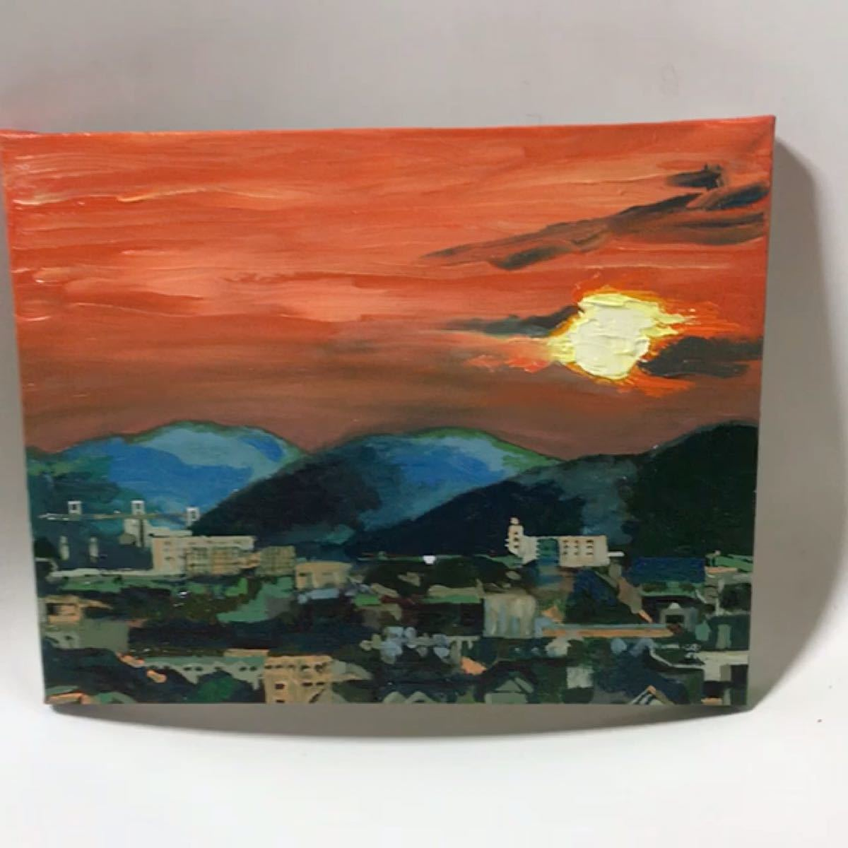 手描き 油彩画 夕陽