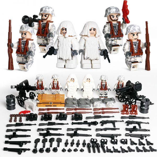 【送料無料】MOC LEGO レゴ ブロック 互換 ARMY WW2 ドイツ軍特殊部隊 雪中戦 カスタム ミニフィグ 6体セット 大量武器・装備・兵器付き_画像1