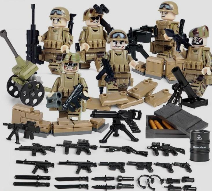 【送料無料】野戦部隊 武器つきセット 戦争軍人軍隊マンミニフィグ 警察兵士 LEGO 互換 ブロック ミニフィギュア レゴ 互換_画像1