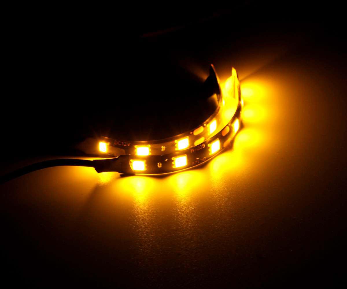 国内発送 汎用 LED フレキシブル テープウインカー チューブ バイク用 高輝度 防水 オートバイ ハーレー DUCATI ウインカー 2本1組 T1569