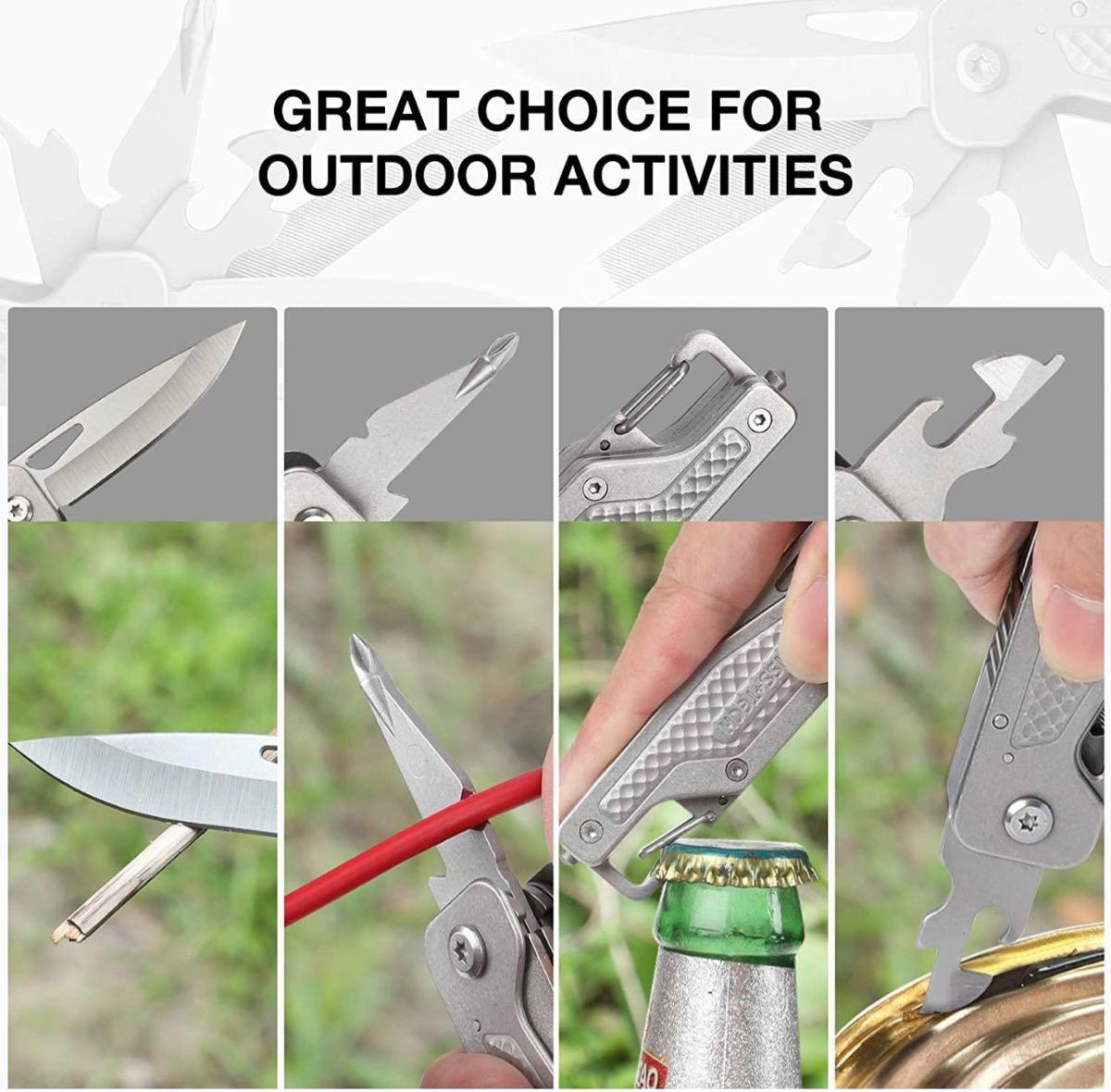 マルチツール 多機能ナイフ 13-IN-1 マルチナイフ ロック機能搭載 折り畳み式 DIY キャンプ アウトドア 釣り 登山