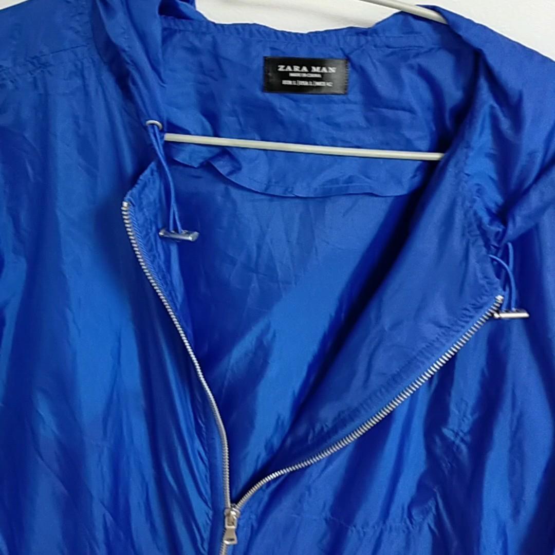 ZARA メンズ 青色 ナイロンジャケット