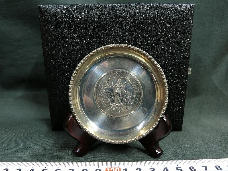 A0984 銀製 SILVER刻印 銀メダル付 小皿 48g