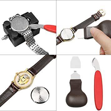 黒色 時計工具 時計修理 電池交換 腕時計ベルト調整 バンド調整 時計道具セット 時計用工具 収納便利 1年保証 腕時計修理工具_画像4